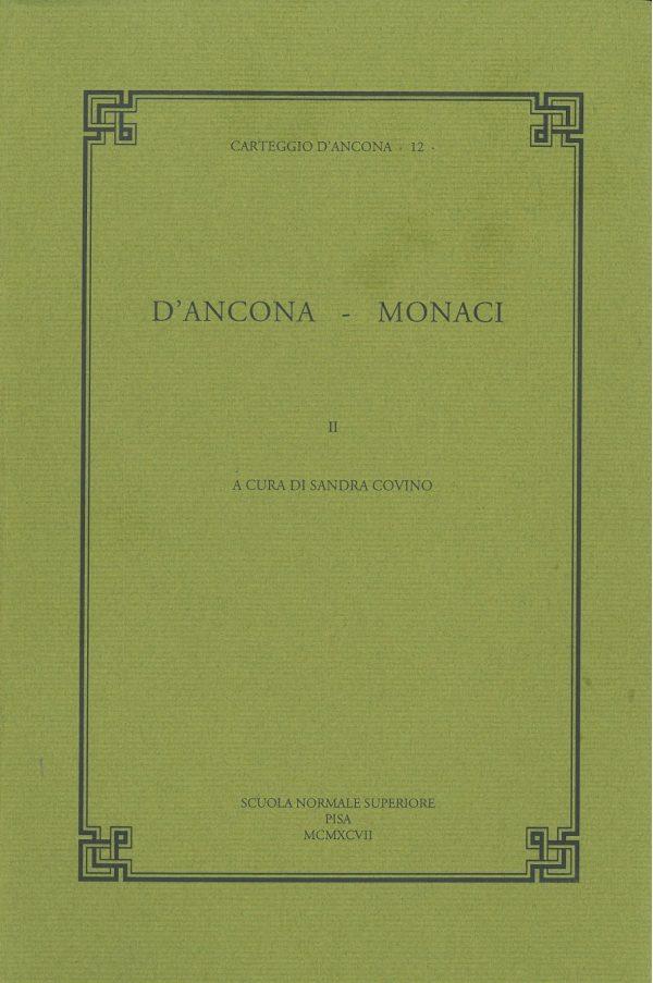 "Carteggio D'Ancona 12 ""D'Ancona - Monaci"" volume 2-0"